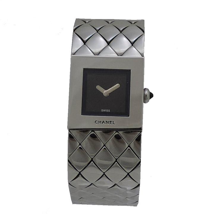 【中古】シャネル マトラッセ レディース 腕時計 H0009 クォーツ SS シルバー×ブラック CHANEL [送料無料]
