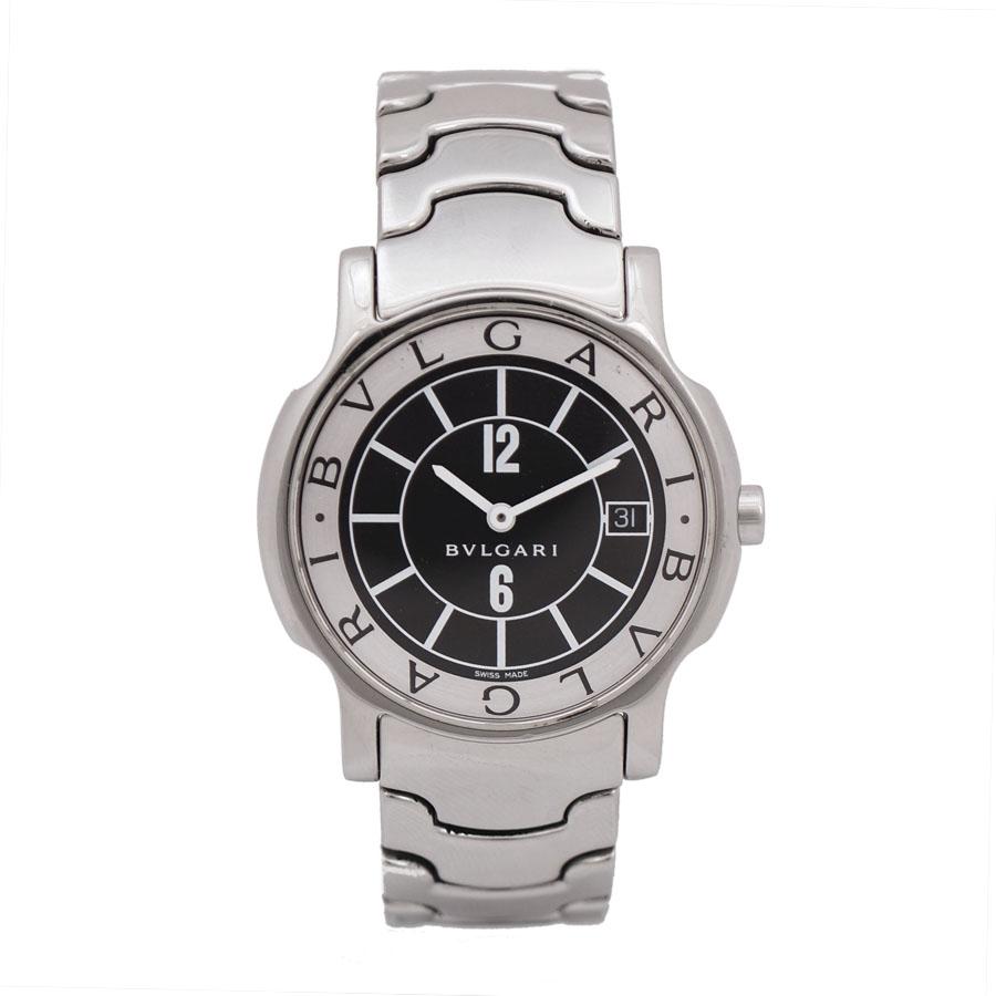 【キャッシュレス5%還元】【中古】ブルガリ 腕時計 ソロテンポ ST35S メンズ クオーツ ステンレススチール ブラック文字盤 BVLGARI [送料無料]