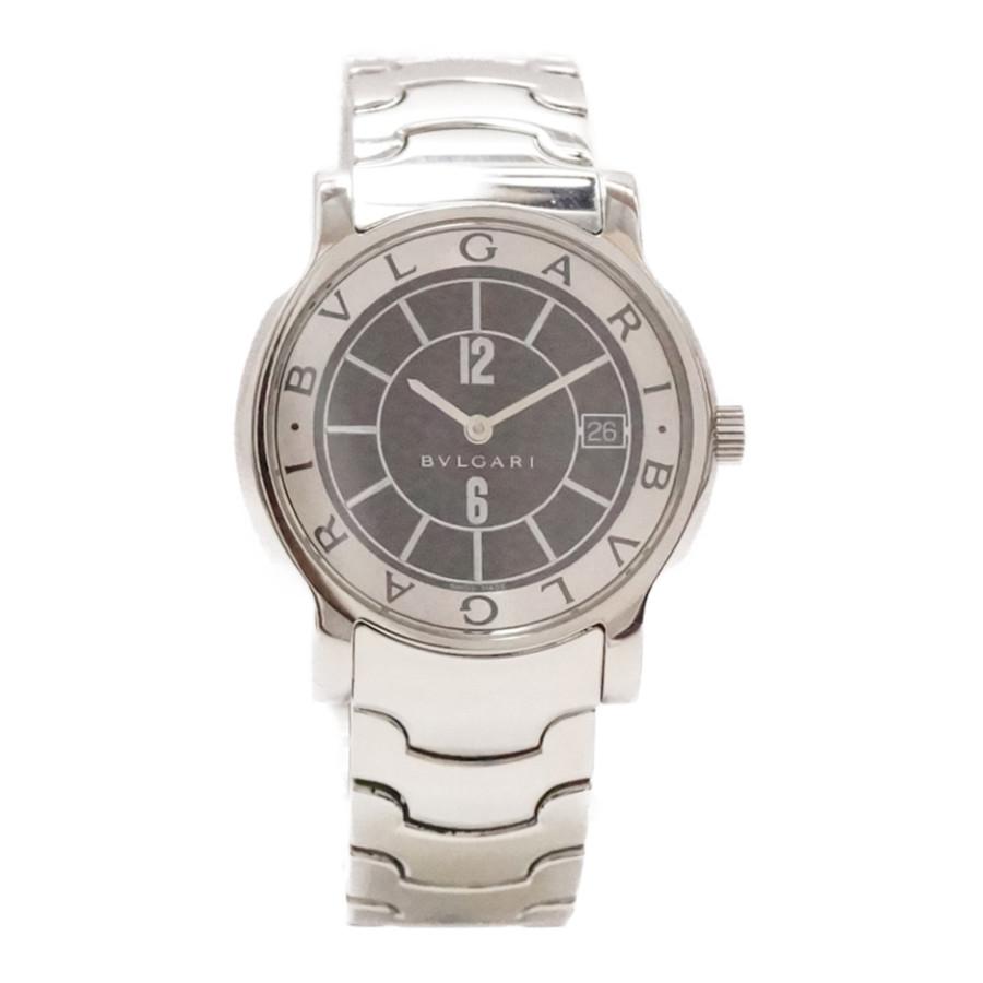 【キャッシュレス5%還元】【中古】ブルガリ ソロテンポ メンズ 腕時計 クオーツ ステンレススチール ブラック文字盤 ST35S BVLGARI [送料無料]