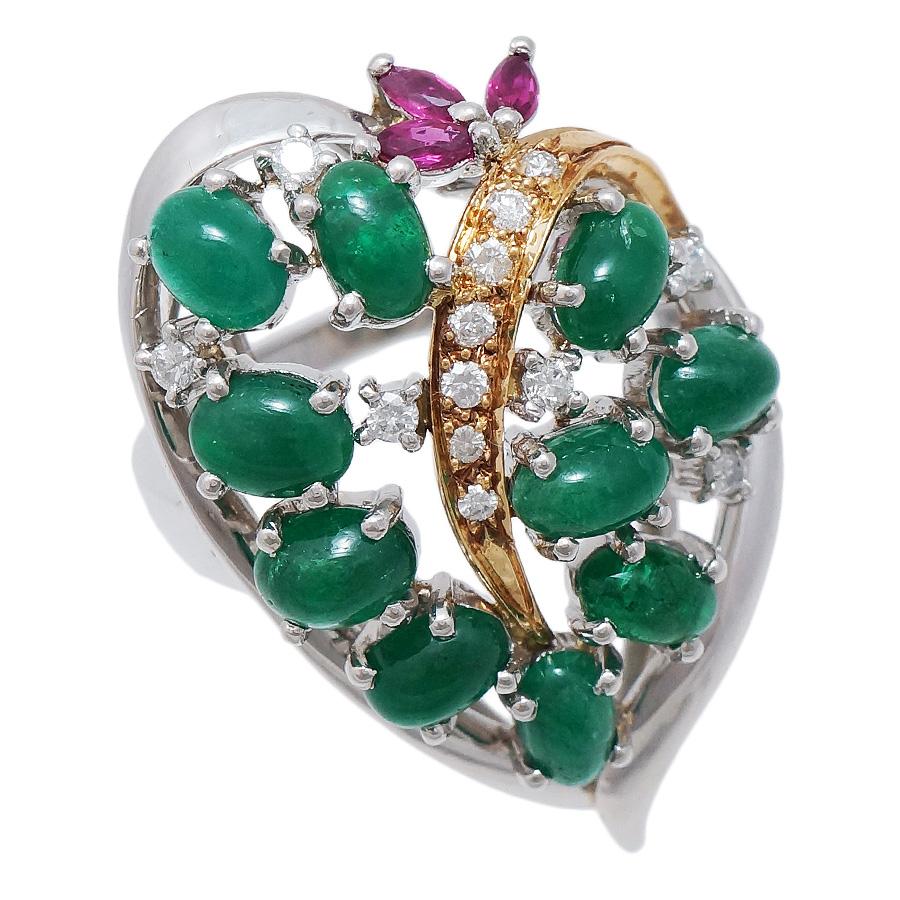 中古 送料無料 美品 女性 アクセサリー 正規取扱店 指輪 リング 宝石 エメラルド ルビー エメラルドがふんだんに使われている豪華なデザインのリングです 市販 0.17ct K18イエローゴールド 12号 2.99ct レディース プラチナ900 ダイヤモンド ジュエリー