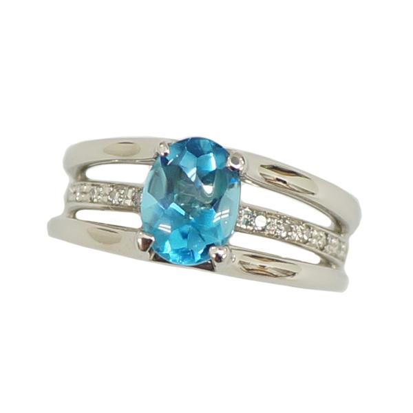 【キャッシュレス5%還元】【中古】Pt900 ブルートパーズ ダイヤモンド 0.08ct 指輪 リング 9号 [送料無料]