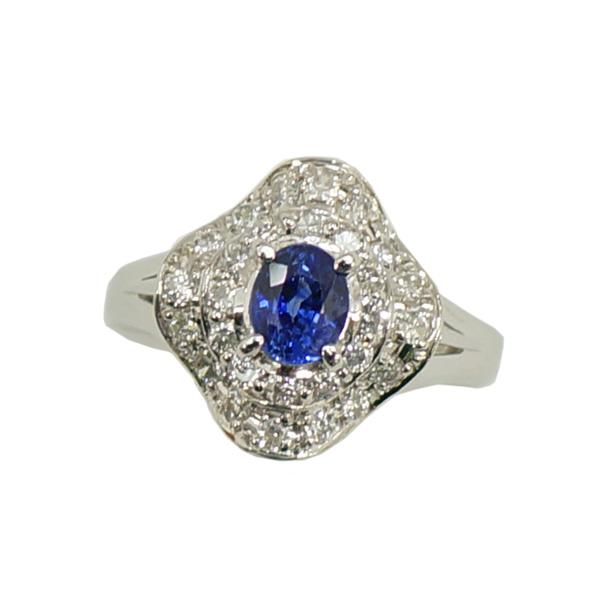 【キャッシュレス5%還元】【中古】リング 指輪 Pt900 サファイア 0.58ct ダイヤモンド 0.39ct 10号 [送料無料]