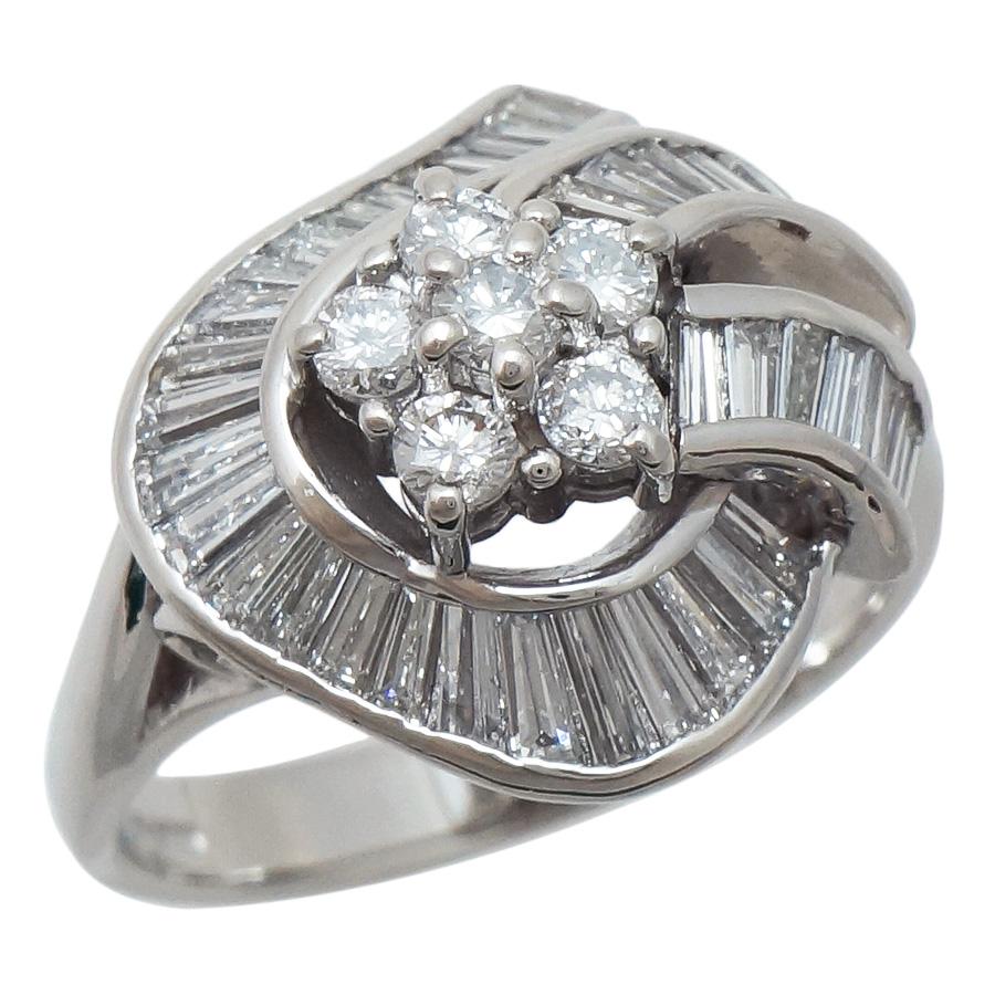 税込 中古 激安通販販売 送料無料 美品 女性 アクセサリー 指輪 リング 宝石 プラチナ レディース 1.35ct 11.5号 ジュエリー ダイヤモンドをふんだんに使った豪華なデザインのリングです Pt900 ダイヤモンド プラチナ900