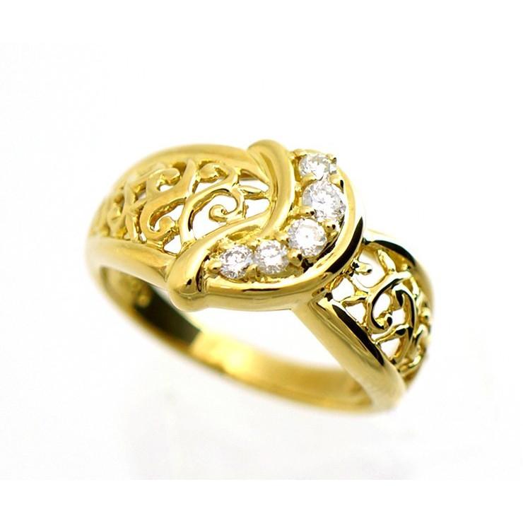 【中古】K18イエローゴールド リング ダイヤモンド 0.20ct K18YG 透かし模様 唐草 レディース 指輪 【送料無料】