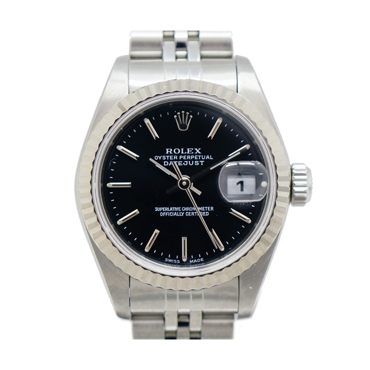【中古】 ロレックス デイトジャスト レディース腕時計 79174 A番 自動巻き 黒文字盤 ROLEX [送料無料]
