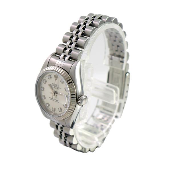 size 40 8161c b4757 ROLEX/ロレックス/デイトジャスト/69174G/T番/10Pダイヤ/シルバー文字盤/レディース/自動巻き/腕時計/人気  [中古][送料無料]|ブランドリサイクルストアスマイル