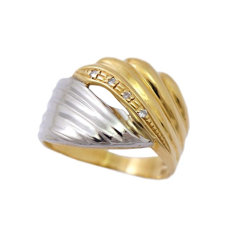 【日本未発売】 【中古】指輪 リング K18 Pt900 ダイヤモンド 0.03ct 12号 レディース エレガント [送料無料], 北欧雑貨byPOS 43933662