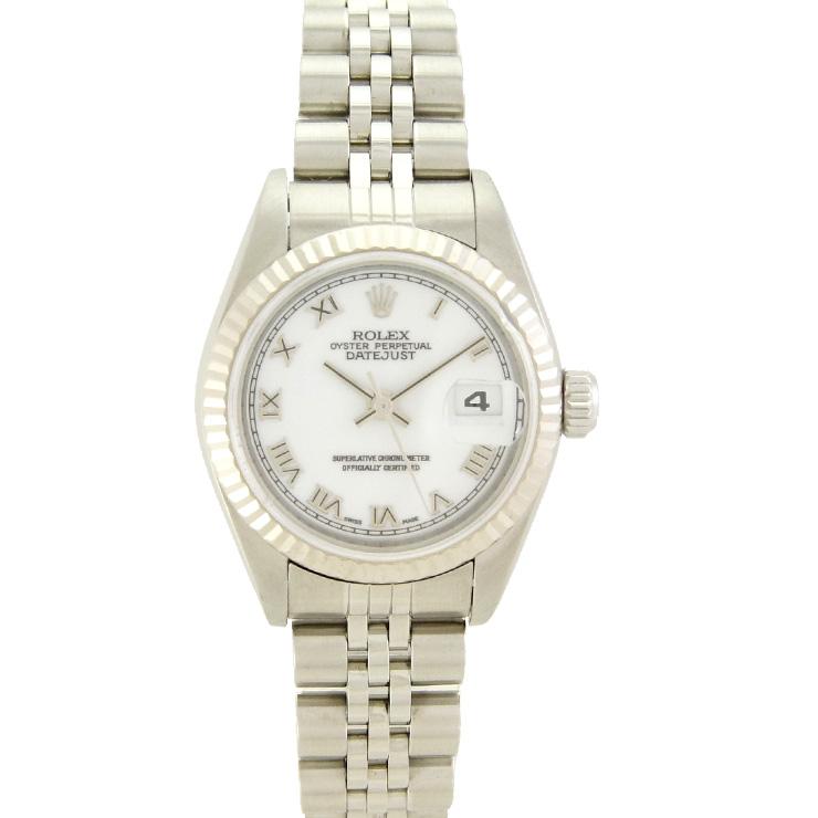 ロレックス レディース腕時計 デイトジャスト 79174 F番 ROLEX SS×WG 自動巻き ホワイト文字盤【中古】【送料無料】」