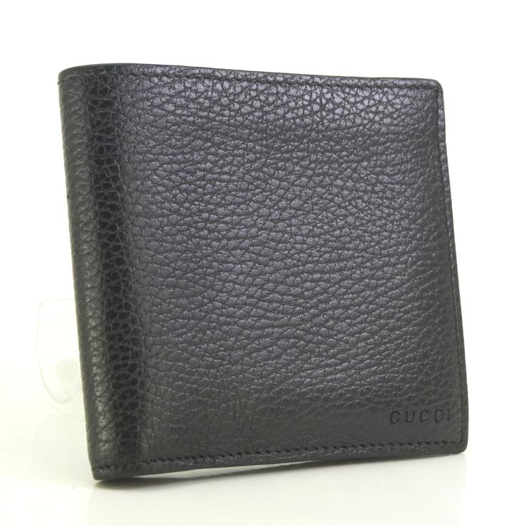 【中古】グッチ 二つ折り財布 150413 GUCCI レザー ブラック【送料無料】【美品】