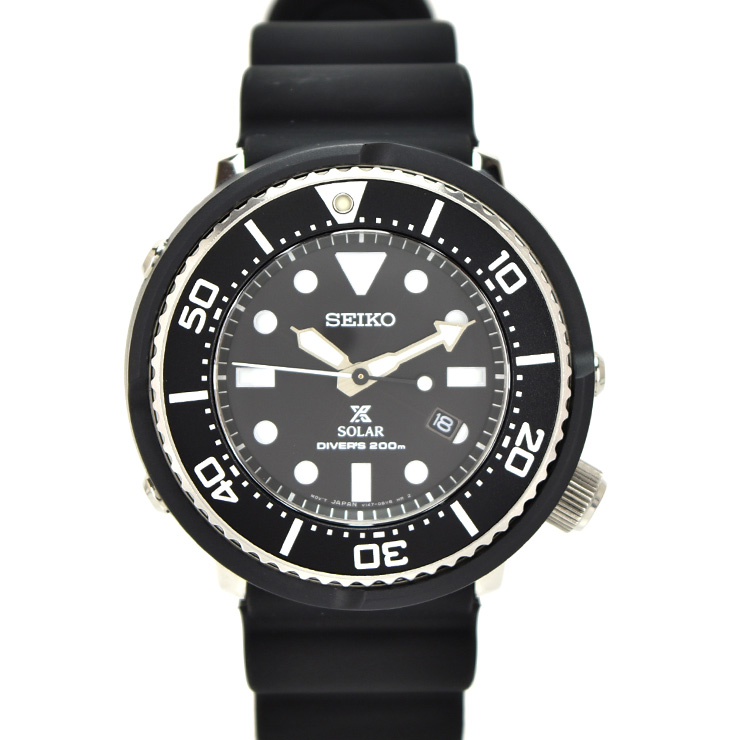 【中古】セイコー プロスペックスダイバースキューバー メンズ 腕時計 ソーラー ラバー×ステンレススチール 黒文字盤 V147-0AY0 SEIKO [送料無料]