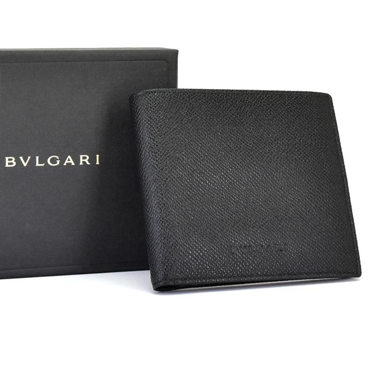 【中古】ブルガリ 二つ折り財布 メンズ グレインレザー ブラック 20253 BLVGARI [送料無料][未使用品]