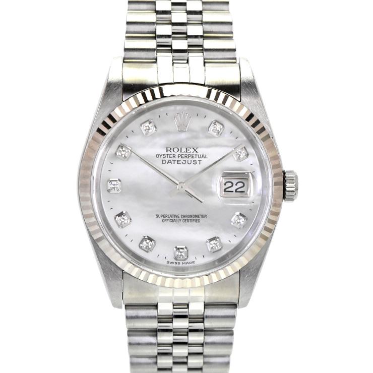 【中古】ロレックス デイトジャスト 10Pダイヤ メンズ 腕時計 自動巻き SS×WG ホワイトシェル文字盤 16234NG Y番 ROLEX [送料無料][美品]