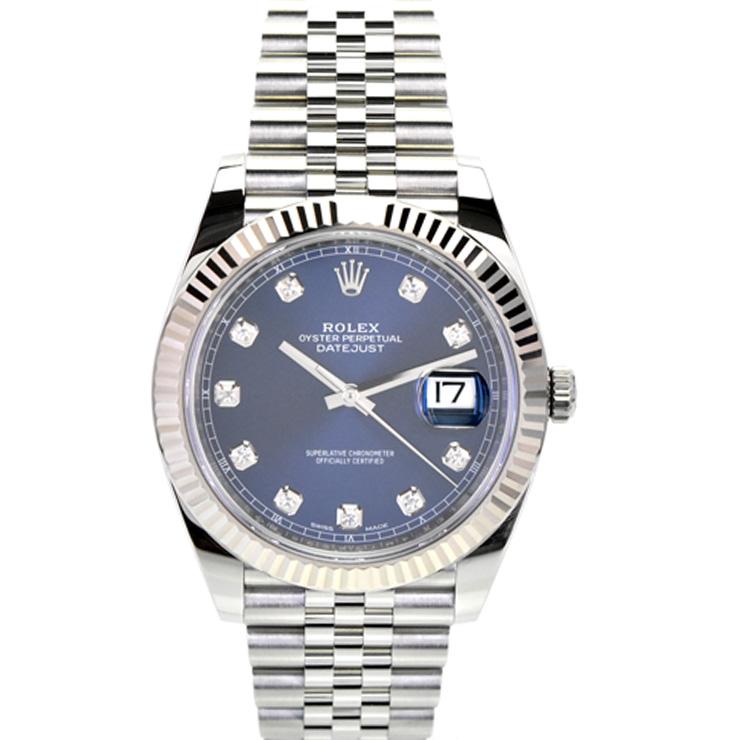 【中古】ロレックス デイトジャスト41 10Pダイヤ メンズ 腕時計 自動巻き SS×WG 青文字盤 126334G ランダムシリアル ROLEX [送料無料][美品]
