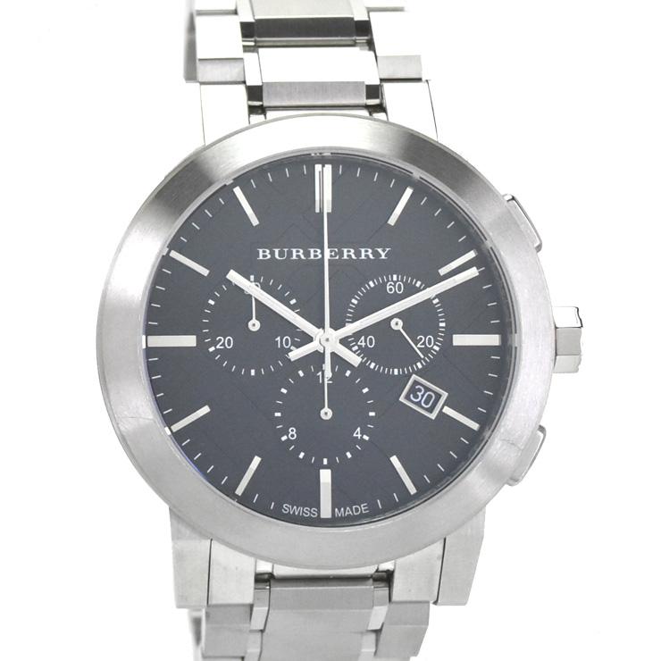 【中古】バーバリー クロノグラフ メンズ 腕時計 クオーツ SS 黒文字盤 BU9251 BURBERRY [送料無料]