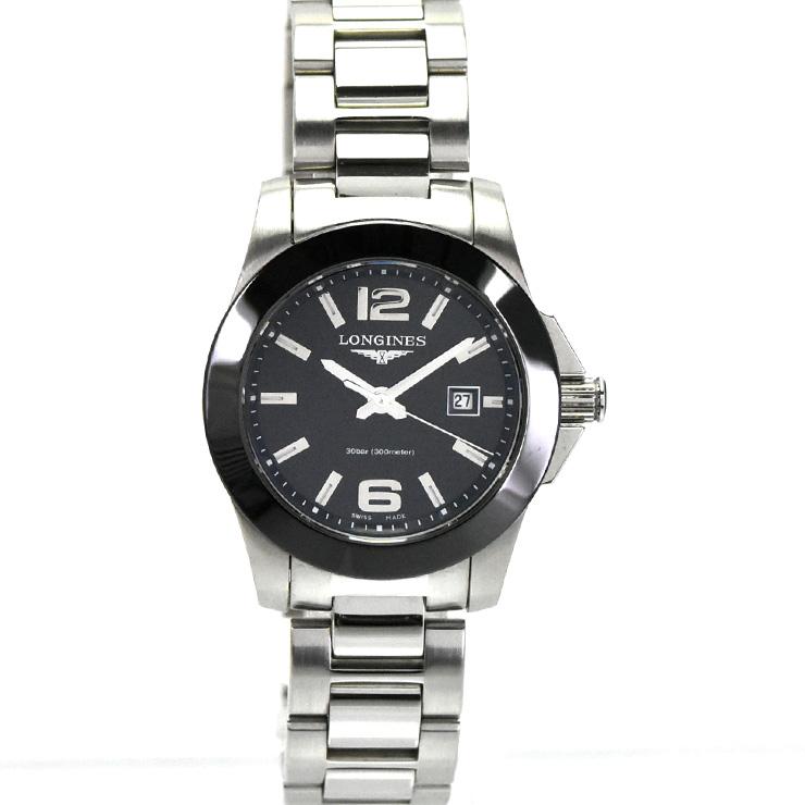 【キャッシュレス5%還元】【中古】ロンジン コンクエストブラックダイアル レディース 腕時計 クオーツ SS 黒文字盤 L3.257.4 LONGINES [送料無料][時計]