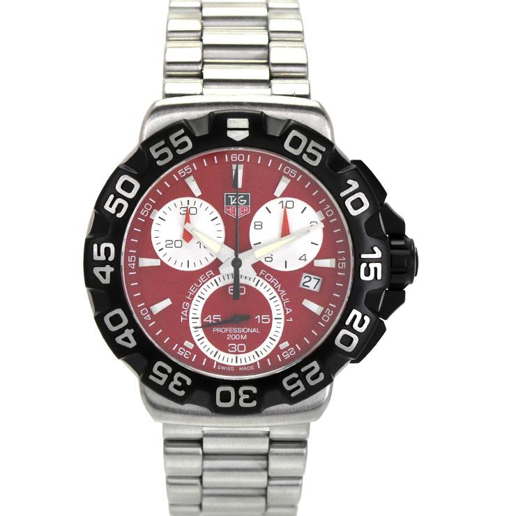【中古】タグホイヤー フォーミュラ1クロノグラフ メンズ 腕時計 クオーツ SS 赤文字盤 CAH1112.BA0850 TAGHEUER [送料無料]