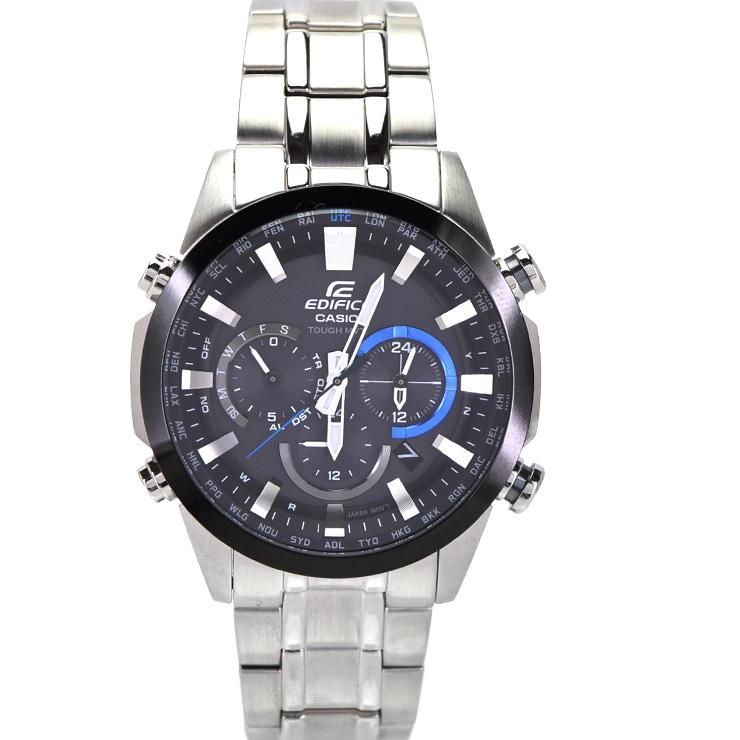 ba0448d7a942 【中古】カシオ エディフィス メンズ 腕時計 電波ソーラー ステンレススチール 黒文字盤 EQW-T630J