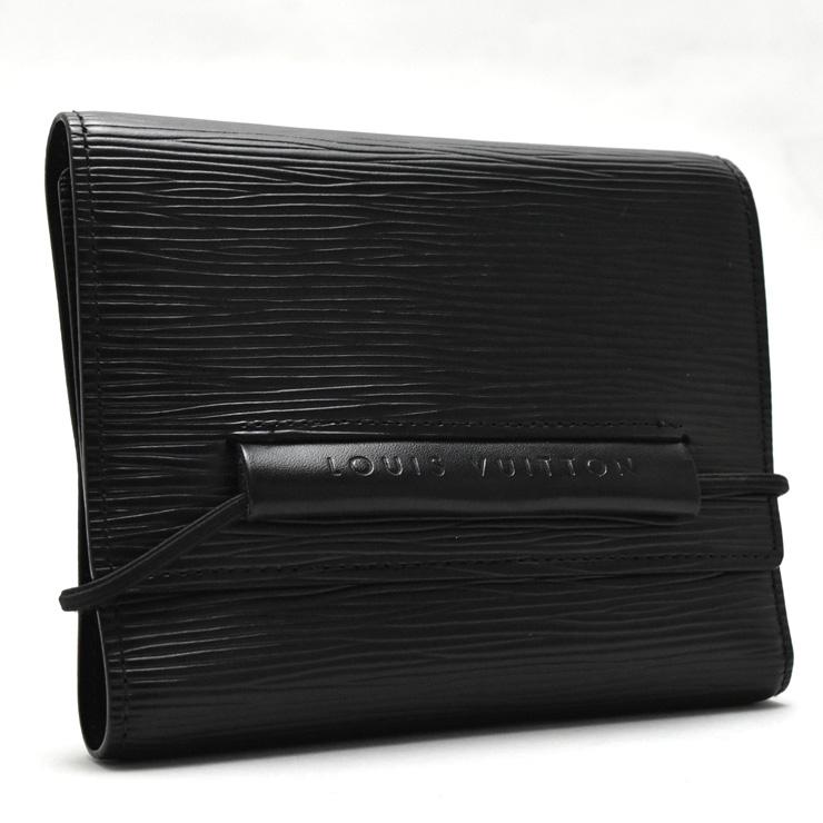 【中古】ルイヴィトン 三つ折り財布 ポルトフォイユ・エラスティック ユニセックス エピ ノワール M6346C LOUIS VUITTON [送料無料]