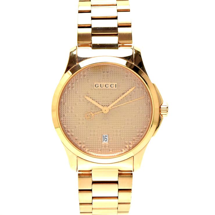 【中古】グッチ Gタイムレス126.4 メンズ 腕時計 クオーツ ピンクゴールド YA126482 GUCCI [送料無料][美品]