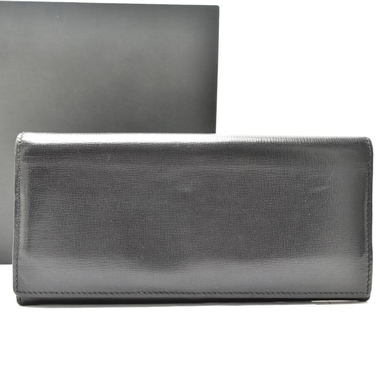 【中古】ヴァレクストラ 二つ折り長財布 メンズ レザー ブラック V8L42 Valextra [送料無料]