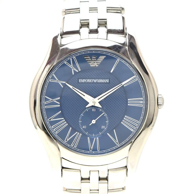 【中古】エンポリオンアルマーニ スモールセコンド メンズ 腕時計 クオーツ ステンレススチール ブルー文字盤 AR-1789 EMPORIO ARMANI [送料無料]