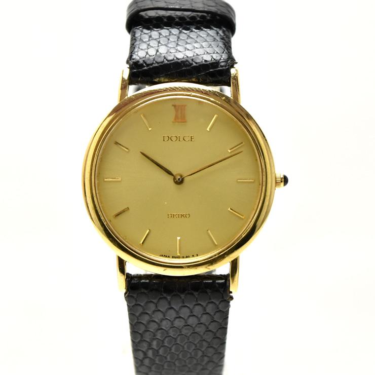 【中古】セイコー ドルチェ メンズ 腕時計 クオーツ K18×革ベルト ゴールド文字盤 8N40-608A SEIKO [送料無料]