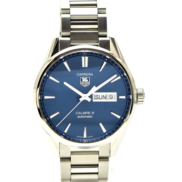 【中古】タグホイヤー カレラキャリーバー5 デイデイト メンズ 腕時計 自動巻き ステンレススチール 紺文字盤 WAR201E.BA0723 TAGHEUER [送料無料][美品]