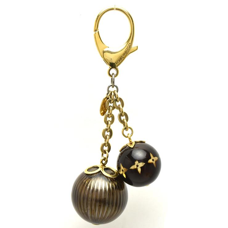 【中古】ルイヴィトン キーホルダーチャーム モノグラムボール ゴールド×ブラウン M66980 LOUIS VUITTON [送料無料]