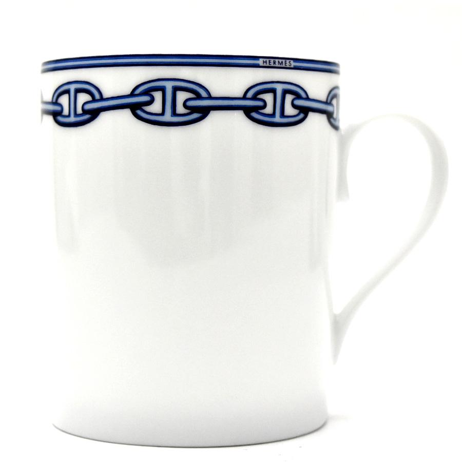 【キャッシュレス5%還元】【中古】エルメス コップ マグカップ シェーヌダンクル ホワイト×ブルー HERMES[送料無料]