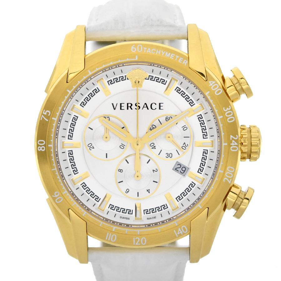 【キャッシュレス5%還元】【中古】ヴェルサーチ V-RAY クロノグラフ メンズ 腕時計 クオーツ SS×革 シルバー文字盤 VEDB00218 VERSACE[送料無料]