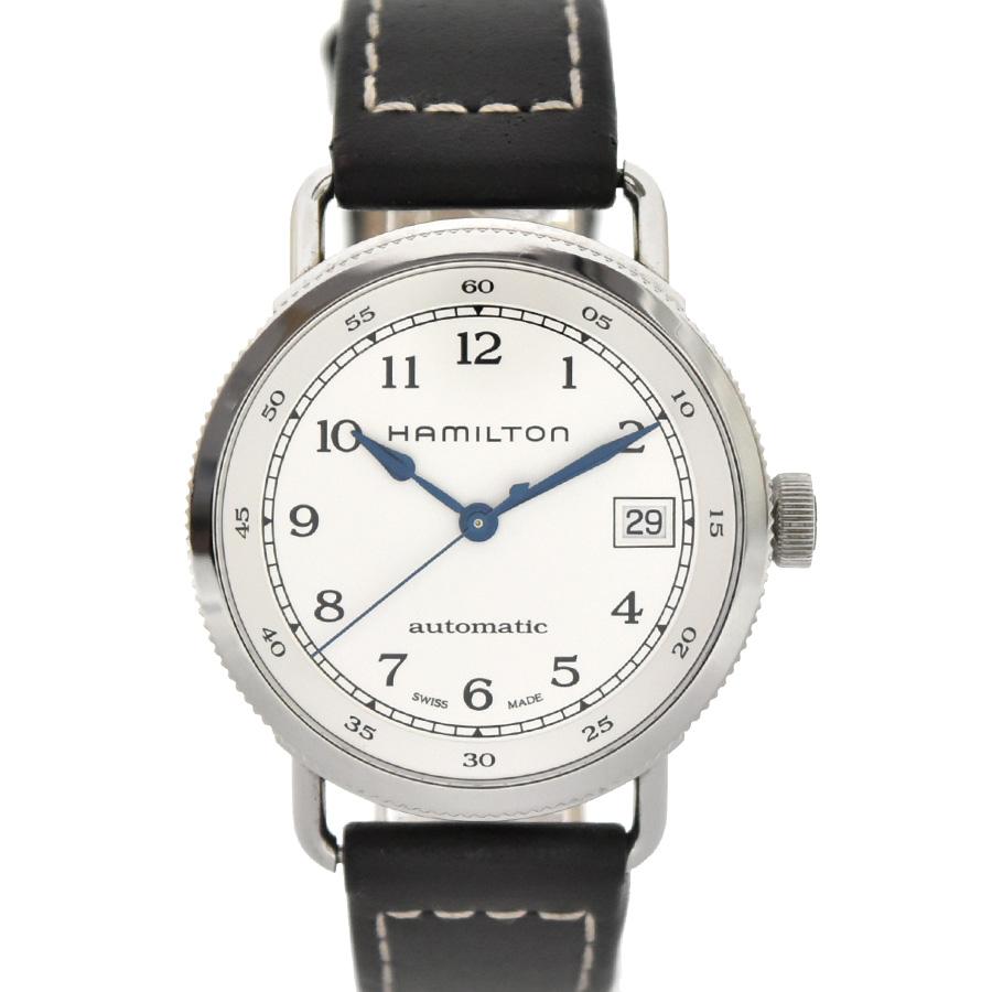 【キャッシュレス5%還元】【中古】ハミルトン パイオニア ボーイズ 腕時計 自動巻き 白文字盤 ステンレススチール×革 H78215553(H782150) HAMILTOM[送料無料]