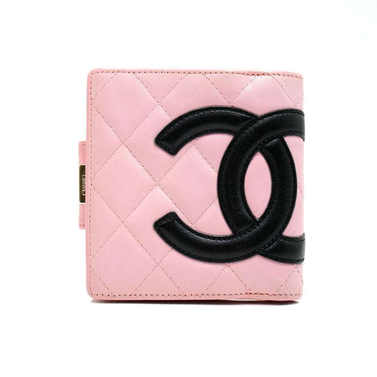 【中古】シャネル カンボンライン 二つ折り ガマ口財布 A26720 レディース ピンク×ブラック CHANEL 【送料無料】