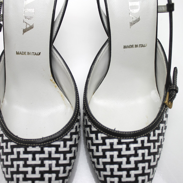 PRADA/普拉达/大头针鞋跟前后卫陷井女用浅口无扣无带皮鞋/白×黑色
