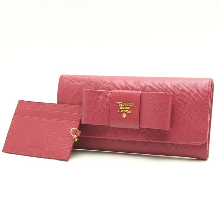 【中古】プラダ 長財布 サフィアーノ 1M1132 PRADA リボン ピンク【送料無料】【美品】