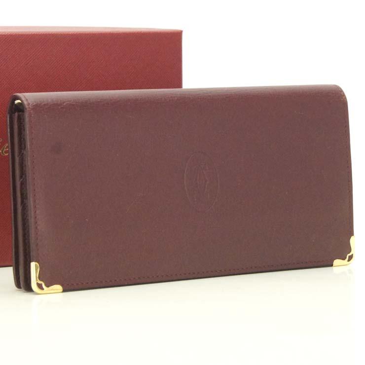【中古】カルティエ 長財布 マストライン L3001362 Cartier ボルドー【送料無料】