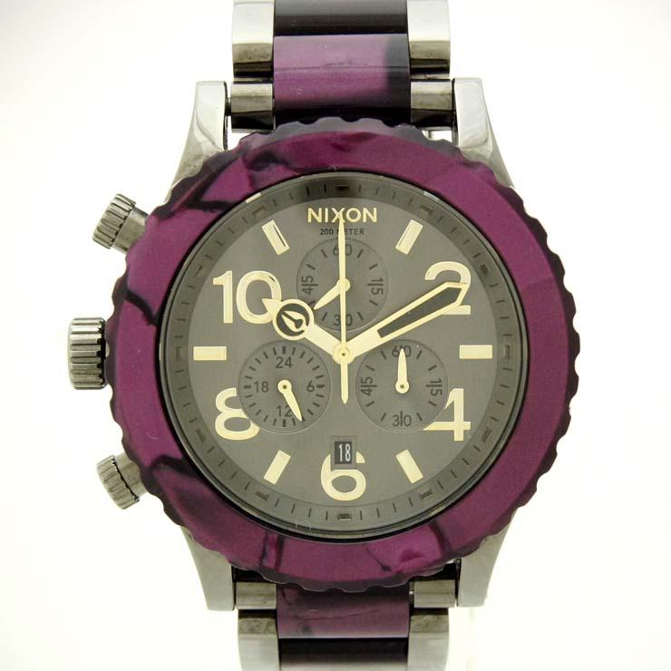 ニクソン メンズ腕時計 クロノグラフ A0371345 NIXON クオーツ ガンメタル×ベルベット【中古】【送料無料】