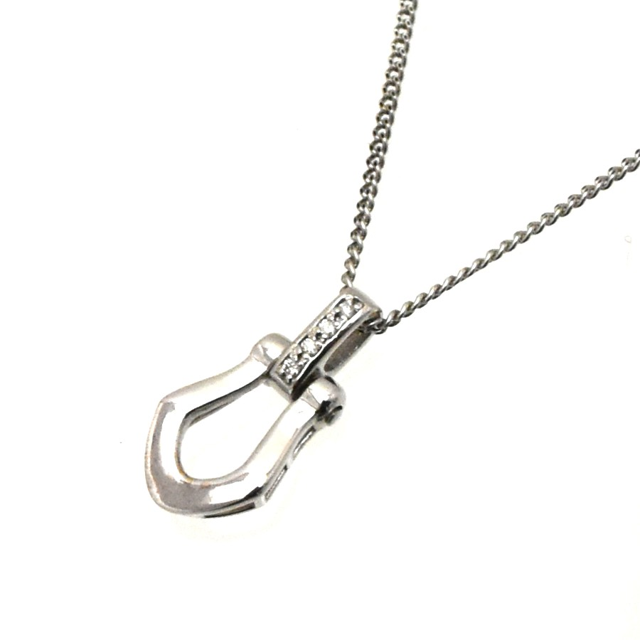 中古 送料無料 美品 ジュエリー 開催中 お呼ばれ パーティー 普段 ペンダント 永遠の定番モデル K18WG レディース チェーン51cm 女性 ダイヤモンド 重量2.8g ダイヤモンド0.02ct