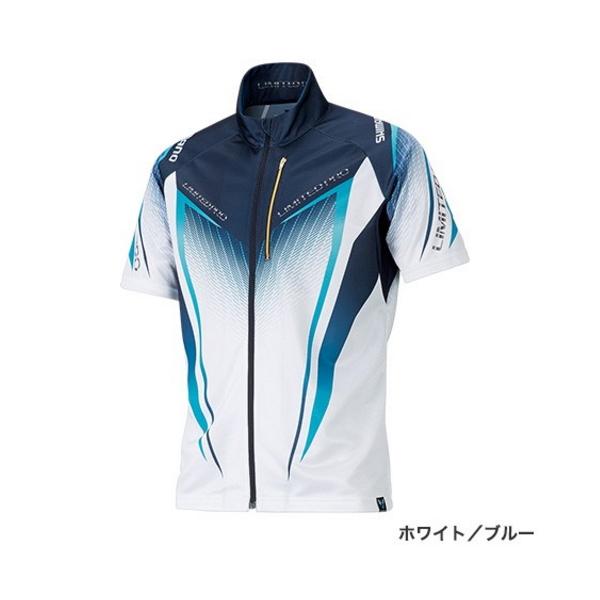 ≪'19年3月新商品!≫ シマノ フルジップシャツ リミテッド プロ(半袖) SH-012S ホワイト/ブルー XLサイズ
