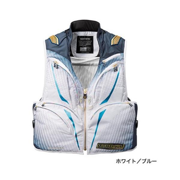 ≪'19年3月新商品!≫ シマノ 2WAYベスト・リミテッド プロ VE-011S ホワイト/ブルー Mサイズ