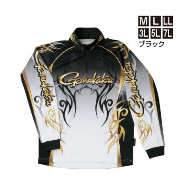 ≪'19年2月新商品!≫ がまかつ 2WAYプリントジップシャツ(長袖) GM-3531 ブラック Mサイズ