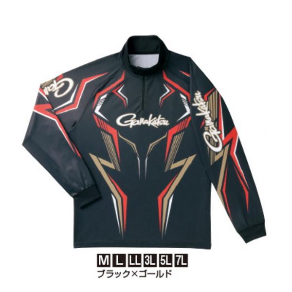 ≪'19年3月新商品!≫ がまかつ 2WAYプリントジップシャツ(長袖) GM-3540 ブラック×ゴールド Lサイズ
