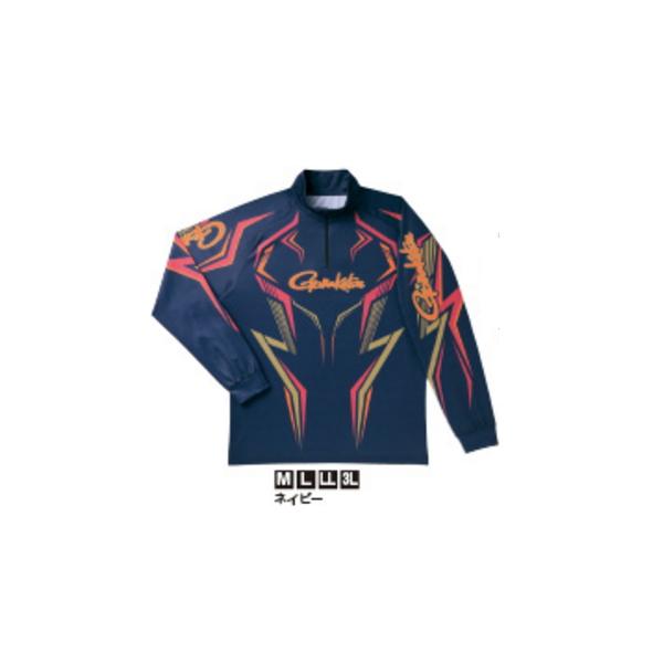 ≪'19年3月新商品!≫ がまかつ 2WAYプリントジップシャツ(長袖) GM-3540 ネイビー LLサイズ