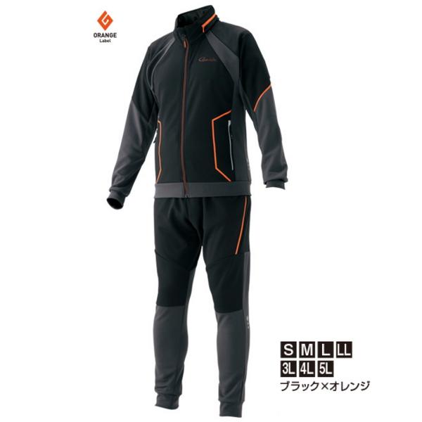 ≪'19年3月新商品!≫ がまかつ ジャージスーツ GM-3545 ブラック×オレンジ Lサイズ