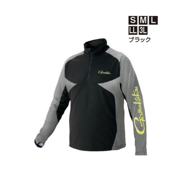 ≪'19年5月新商品!≫ がまかつ ノーフライゾーン(R)ジップシャツ GM-3550 ブラック Sサイズ