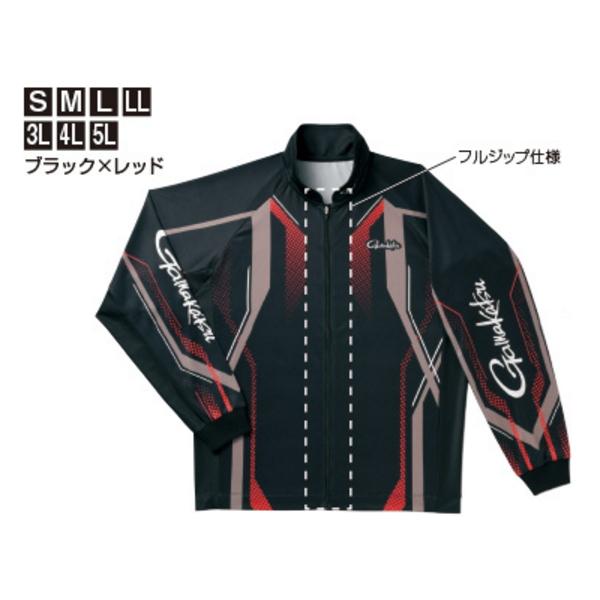 ≪'19年4月新商品!≫ がまかつ フルジップトーナメントシャツ GM-3569 ブラック×レッド 3Lサイズ