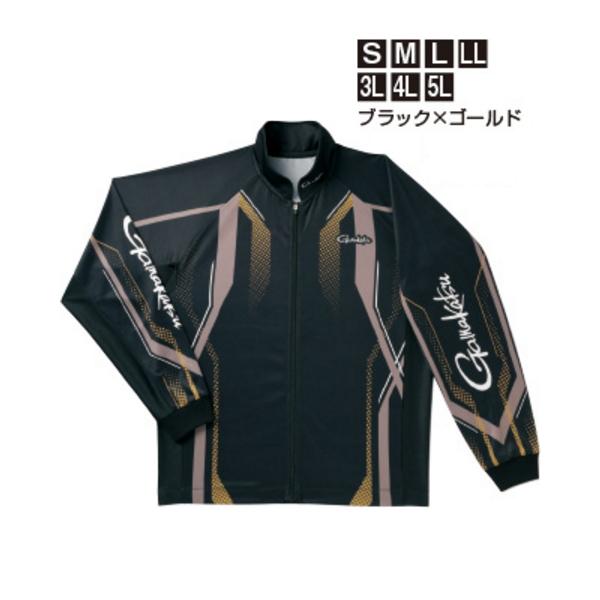 ≪'19年4月新商品!≫ がまかつ フルジップトーナメントシャツ GM-3569 ブラック×ゴールド 3Lサイズ