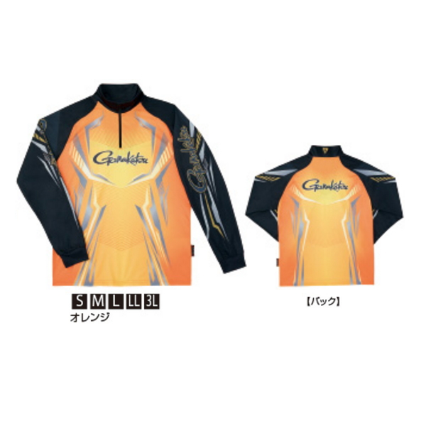 ≪'20年2月新商品!≫ がまかつ 2WAYプリントジップシャツ(長袖) GM-3616 オレンジ Sサイズ