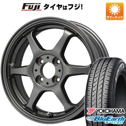 タイヤはフジ 送料無料 LEHRMEISTER リアルスポーツ カリスマVS6 5J 5.00-14 YOKOHAMA ブルーアース AE-01 155/55R14 14インチ サマータイヤ ホイール4本セット