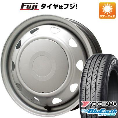 タイヤはフジ 送料無料 ELBE エルベ オリジナル スチール 4J 4.00-13 YOKOHAMA ブルーアース AE-01 145/80R13 13インチ サマータイヤ ホイール4本セット