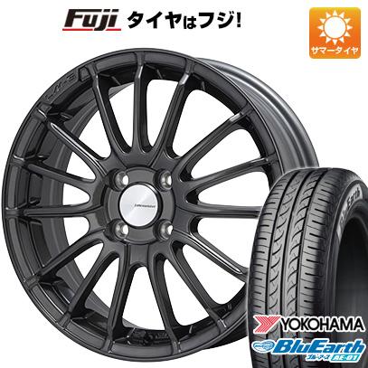 タイヤはフジ 送料無料 LEHRMEISTER LM-S トレント15 (ガンメタブラッククリア) 5J 5.00-15 YOKOHAMA ブルーアース AE-01 165/60R15 15インチ サマータイヤ ホイール4本セット